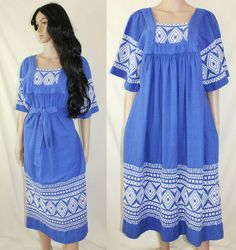 70s Guatemalan hippie caftan maxi dress ~  $86.00