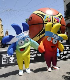 Mascots of the Basketball World Cup 2014, Ole and Hop, are photographed during their presentation with the official ball in Seville, Spain, July 22, 2014. Spain's Basketball World Cup 2014 will take place from August 30 to September 14.