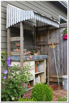 My potting bench, This piece was saved from the curb and made a big contribution to my garden. I describe this Potting Bench adventure in detail. Outdoor Potting Bench, Potting Tables, Potting Sheds, Garden Structures, Outdoor Structures, Garden Spaces, Dream Garden, Garden Projects, Garden Inspiration