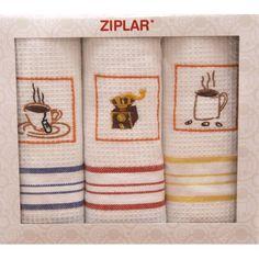 Sada bílých kuchyňských utěrek s barevnými čárkami Towel