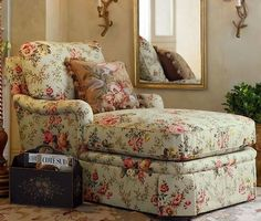Chaise with floral upholstery. Love the pillow also. (I love this & don't think I would ever leave it if I had it! English Cottage Style, English Country Decor, French Country, French Cottage, Country Style, Shabby Chic Furniture, Shabby Chic Decor, Cool Chairs, Home Collections