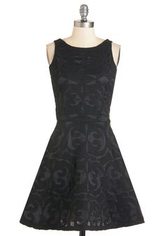 Romantic Feeling Dress. Experience sultry sensation in this textured black dress! #black #modcloth