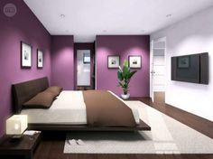 Wall white and purple bedroom Home Decor Bedroom, Living Room Tv Unit Designs, Master Bedrooms Decor, Bedroom Colors, Purple Bedrooms, Bedroom Wall Colors, Bedroom Red, Home Bedroom, Modern Bedroom