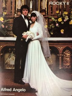 From 1979: Michele Piccione designed the wedding gown Adrian (played by Talia Shire) wore in Rocky II! vintage designer fashion bride ad
