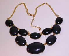 Grey Cabochon and Gold Tone Oval Link Double Strand Necklace