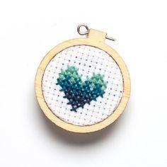 Miniature Embroidery Hoop Aqua Heart Blue Gradient by beckarahn, $10.00