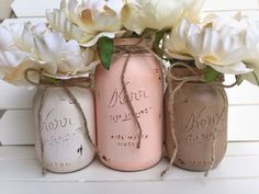 Three Painted Mason Jar  Shabby Chic Rustic Decor by FloraChic