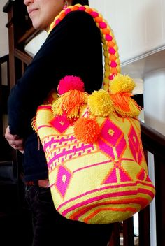 Hand-Woven Wayuú Bright Yellow and Pink Mochila Tapestry Bag, Tapestry Crochet, Bead Embroidery Jewelry, Beaded Embroidery, Crochet Toys, Knit Crochet, Mochila Crochet, All About Fashion, Straw Bag