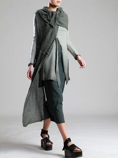 KNITTED COTTON SHAWL WITH UNEVEN DYE - JACKETS, JUMPSUITS, DRESSES, TROUSERS, SKIRTS, JERSEY, KNITWEAR, ACCESORIES - Woman -