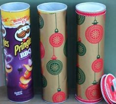 Wrap Pringles Cans to store cookies if giving as a gift...