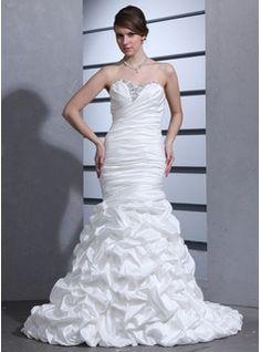 Trumpet/Mermaid Sweetheart Court Train Taffeta Wedding Dress With Ruffle Beading