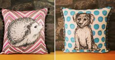 Custom hedgehog and dog Pom Pom cushions all set to head to their new home in Orkney