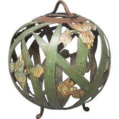 "12"" Bronze Champleve Hanging Lantern - Irises  - found at www.rubylane.com @rubylanecom"