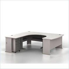 Bush Furniture Series A Left-Facing U-Shaped Desk Bundle in Pewter - SRA002PEL