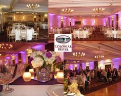 Pink Up Lighting Up Lighting Before & After Up Lighting at Colonial Hotel Gardner, MA by www.AllThatEvents.com (978) 204-7364