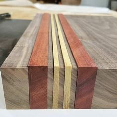 Bloodwood and yellow heart are such a great accent combo. The bright colors just pop against the walnut so well. And they smell great when you cut them. Bonus.