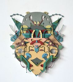 Francisco Miranda's Intricate Art Nouveau Inspired Wood Collages Cardboard Sculpture, Cardboard Art, Wood Sculpture, Paper Sculptures, Francisco Miranda, Paper Art, Paper Crafts, Cool Shapes, Painted Paper