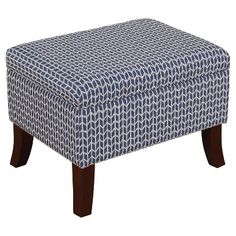 "Threshold™ Flared Leg Storage Ottoman - Blue Print $89.99  Dimensions: 24"" L X 18"" W X 18"" H"