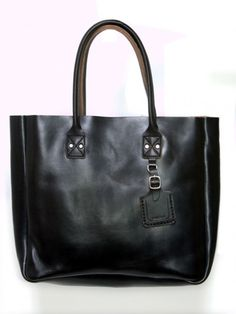 Leather Tote with Tag- Black