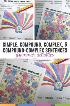 Teach types of sentences with these grammar activities. Simple, compound, complex, and compound-complex sentences - forty practice problems.
