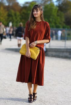Burnt Sienna and Yellow, Paris // Burnt Sienna Drop-waist Dress and Yellow Clutch