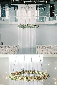 Sometimes all you need is one drop-dead gorgeous floral chandelier to tie your wedding together. Simply stunning design by Munster Rose at Muse Event Center.