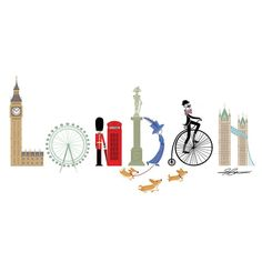 """Pinner said: """"I've had so much fun making this board, I will be keeping it for future reference and to help sell the idea of a trip to London. Although I think London sells itself pretty well. Thinking Day, Art And Illustration, London Illustration, London Calling, London Travel, Travel Uk, Travel Tips, British Isles, Travel Posters"""