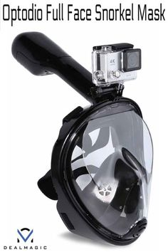 Optodio Full Face Snorkel Mask and GoPro mount. Features: Dual airflow anti-fog channel Ventilating fan design, anti-fog, breathe freely without chewing the breathing tube