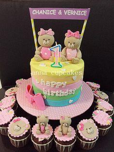Twin teddy bear cake