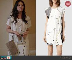 Joan's white crack painted t-shirt dress on Elementary.  Outfit Details: http://wornontv.net/39431/ #Elementary
