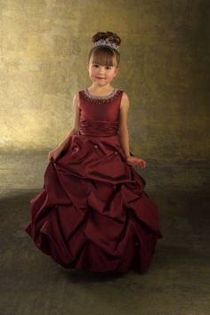 A-line Jewel Empire Waist Ruched Long Satin Red Flower Girl Dresses