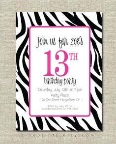 PRINTABLE Zebra Pink Birthday Invitations Wild Heart Party Animal