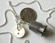 Silver Vintage Thimble Lucky Sixpence Charm Necklace