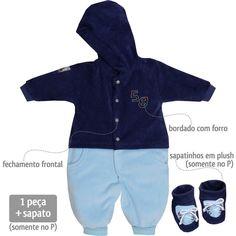 Macacão em Plush para Bebê Menino com Capuz Azul - Sonho Mágico :: 764 Kids | Roupa bebê e infantil