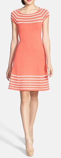 Stripe knit flared dress in coral http://rstyle.me/n/fd8nanyg6