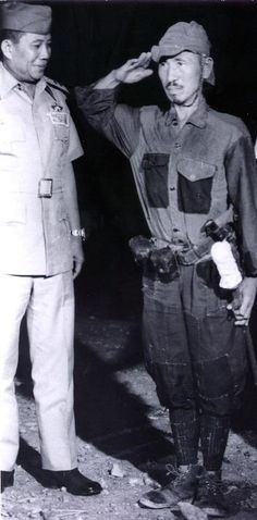 Long war: Hiroo Onoda surrenders on Lubang Island, the Philippines, in 1974.