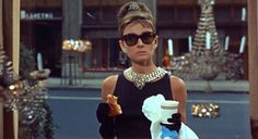 Breakfast at Tiffany's. Audrey Hepburn. Coffee and croissant.
