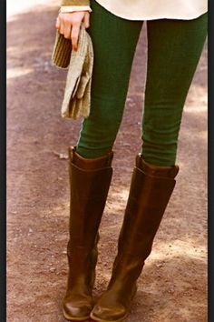 Hunter green pants w/ brown boots