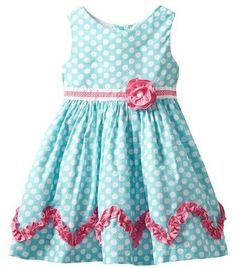 Rare Editions Toddler Girls 2T-4T Teal White Polka Dot Pink Trim Cotton Dress, 4T,