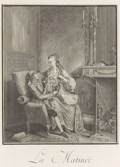 La Matinee (afternoon delight), Louis Bosse, after 1789, French - leopard print fabric at her hem