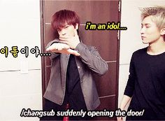 "Oh Sungjae... Hehehe BTOB...his face is all like ""really?I can't deal with this shit."""