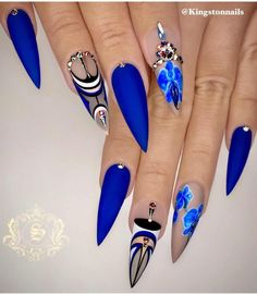 50 Fabulous Sparkly Giltter Acrylic Blue Nails Design On Coffin And Stiletto Nails To Try Now - Page 5 of 54 - Latest Fashion Trends For Woman Ongles Bling Bling, Bling Nails, Sparkly Nails, Blue Nail Designs, Beautiful Nail Designs, Nail Swag, Fabulous Nails, Gorgeous Nails, Blue Stiletto Nails