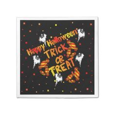 Happy Halloween Trick Or Treat Napkins Standard Cocktail Napkin
