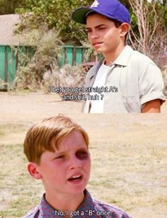I was uncomfortable with how much of myself I saw in Smalls in this scene. Tom Guiry as Scotty Smalls and Mike Vitar as Benjamin Franklin Rodriguez in The Sandlot Sandlot Quotes, The Sandlot, Sandlot Benny, 90s Movies, Great Movies, Tv Quotes, Movie Quotes, Quotes Kids, Funny Quotes