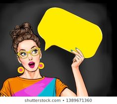 Amazed young sexy woman with open mouth looking up on empty yellow bubble.Pop Art girl is thought and holding message cloud. Meninas Comic Art, Bellet Journal, Desenho Pop Art, Farmasi Cosmetics, Pop Art Women, Pop Art Wallpaper, Avant Garde Artists, Pop Art Girl, Pop Art Illustration