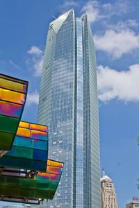 The new Devon Tower soars above the Oklahoma City skyline as seen from the Myriad Botanical Gardens.