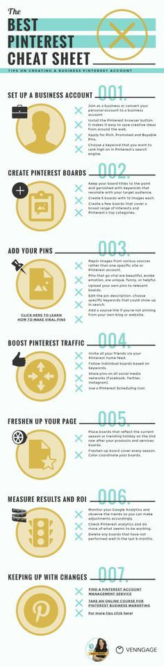Our brains love visuals and processes images 60,000 times faster than text which is no wonder why infographics receives very high engagement on Pinterest. Here's an infographic that you can easily do for free on @ve Click here to learn more about how to m