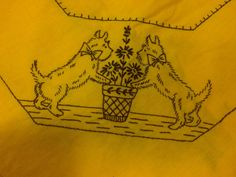 Yellow Embroidered Tablecloth Hand Embroidery by BrushCreekCottage Clever Dog, Retro Table, Linen Tablecloth, Scottie Dog, Cottage Chic, Country Decor, Hand Embroidery, Shabby Chic, Yellow