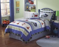 Build a boys construction themed bedroom with My World Trucks at Work Quilt Set. Featuring work trucks, cranes, traffic cones and street signs, this is adorable little boys bedding. Available at Just Boys Bedding in Twin or Full/Queen. Boys Bedroom Sets, Boys Bedding Sets, Bedroom Themes, Kids Bedroom, Bedroom Ideas, Sports Bedding, Kids Rooms, Boy Rooms, Comforter Sets