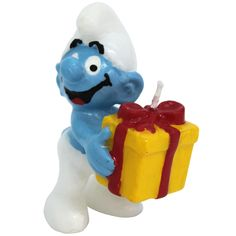 One happy Smurf wants to stand on your cake with a gift in his hands that is the candle for your birthday cake Blue Birthday Parties, It's Your Birthday, Birthday Cake, Light My Fire, Best Candles, Candle Lanterns, Party Cakes, Birthday Candles, Smurfs